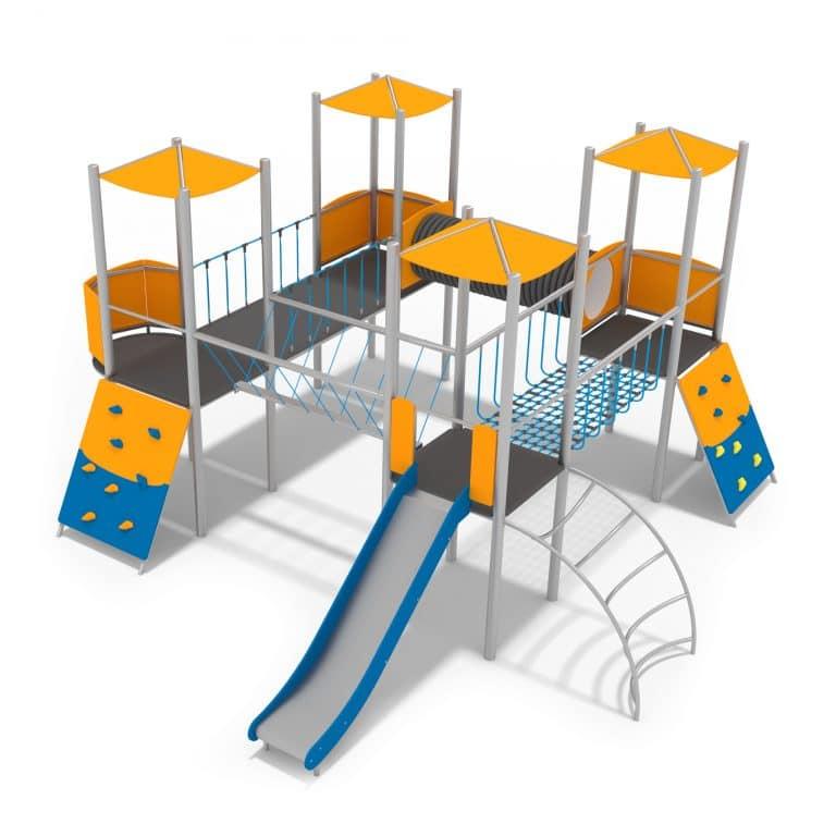 Spielanlage mit Türmen, Kletterwand und einer Rutsche