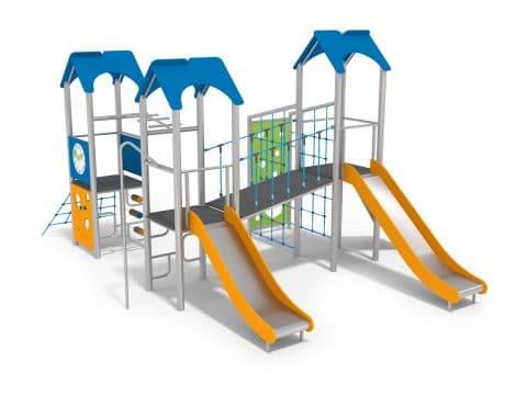 Spielanlage mit drei Türmen und zwei Rutschen, Kletterseil und Kletterwand