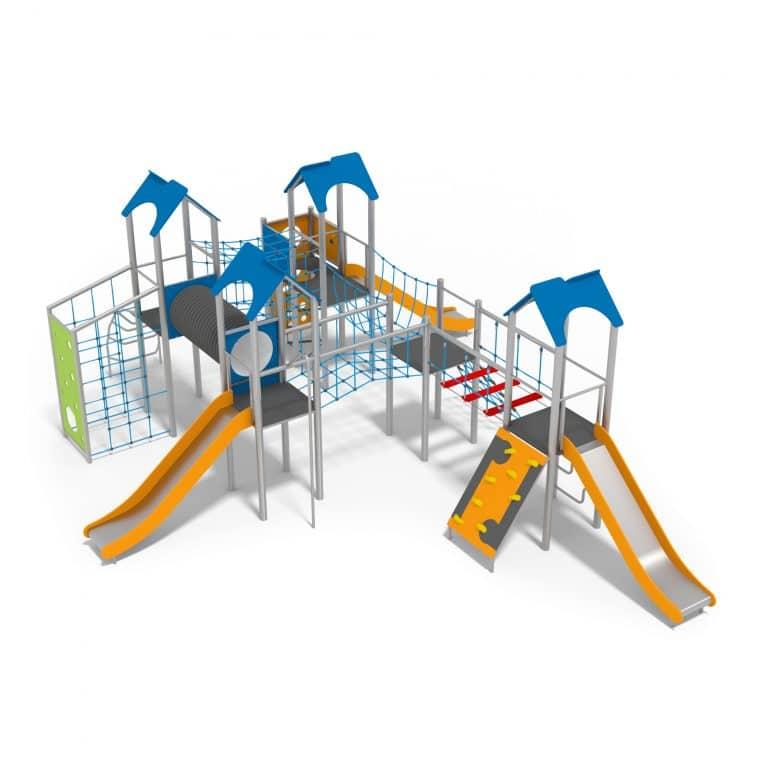 Spielanlage mit Rutschen, Kletternetzen, Spieltunnel, Bogenleiter, Seiltunnel und Türmen