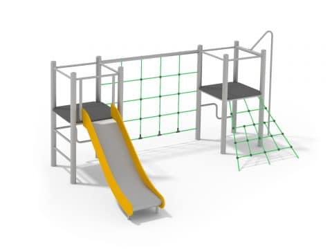 Spielanlage mit Rutsche und Kletternetz