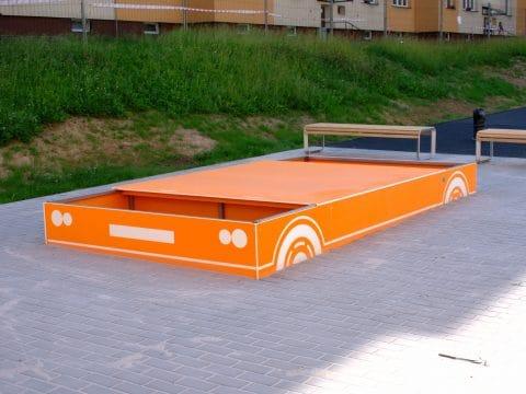 Smile Steel Sandkiste Auto mit Abdeckung
