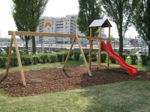 Spielplatz von FREISPIEL in 1020 Wien, Handelskai mit Rutsche