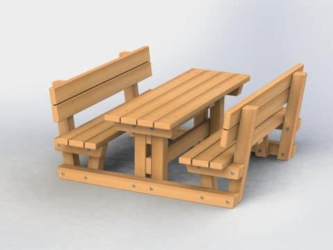 Tisch-Bank-Kombination mit Lehne Kinder