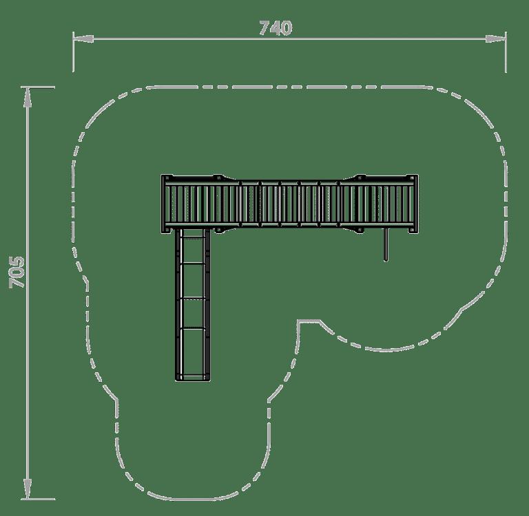 Doppelturmanlage David bei FREISPIEL Skizze Draufsicht