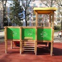 Spielgerätkombination Doppel-Turmanlage Sophie von FREISPIEL, dem Spielplatzbauer