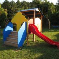 Spielgerätkombination Doppel-Turmanlage Sandra von FREISPIEL mit Rutsche