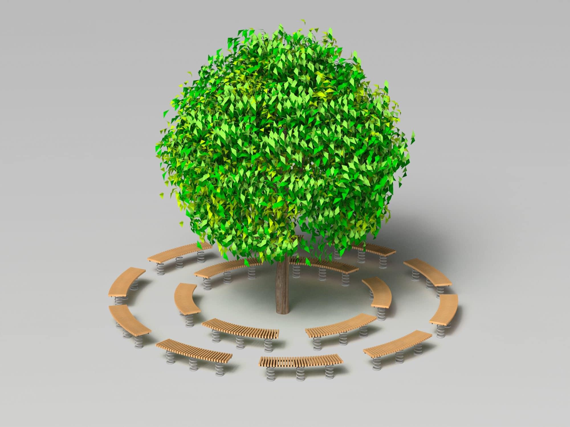 Bench curved rund um Baum